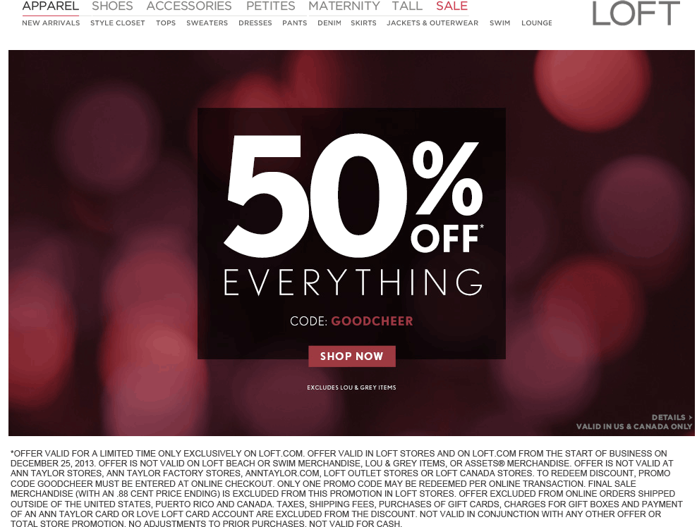 Pinned January 2nd Everything Is 50 Off At Loft Or Online Via Promo Code Goodcheer Coupon Via The Coupons App Coupon Apps Coupons Loft Store