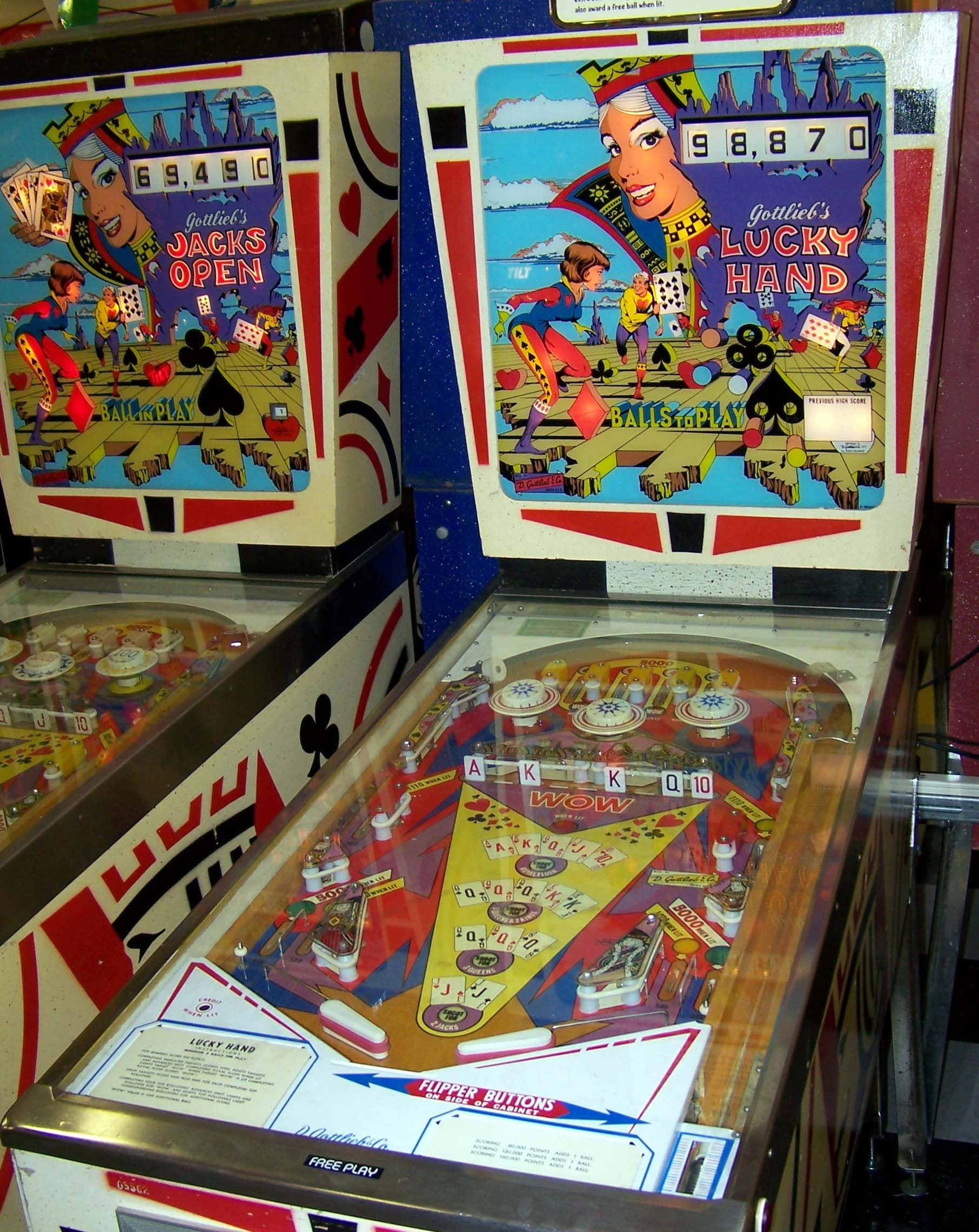 1977 lucky hand gottlieb pinball machine pinball pinball game pinball machines