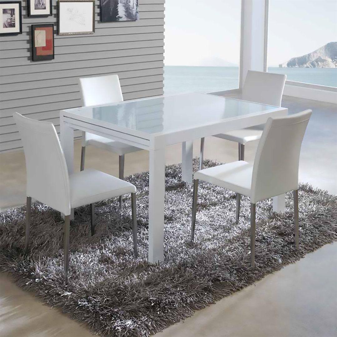 Mesa de comedor extensible con dise o moderno tapa de for Table extensible 120 240 cm allonge integree