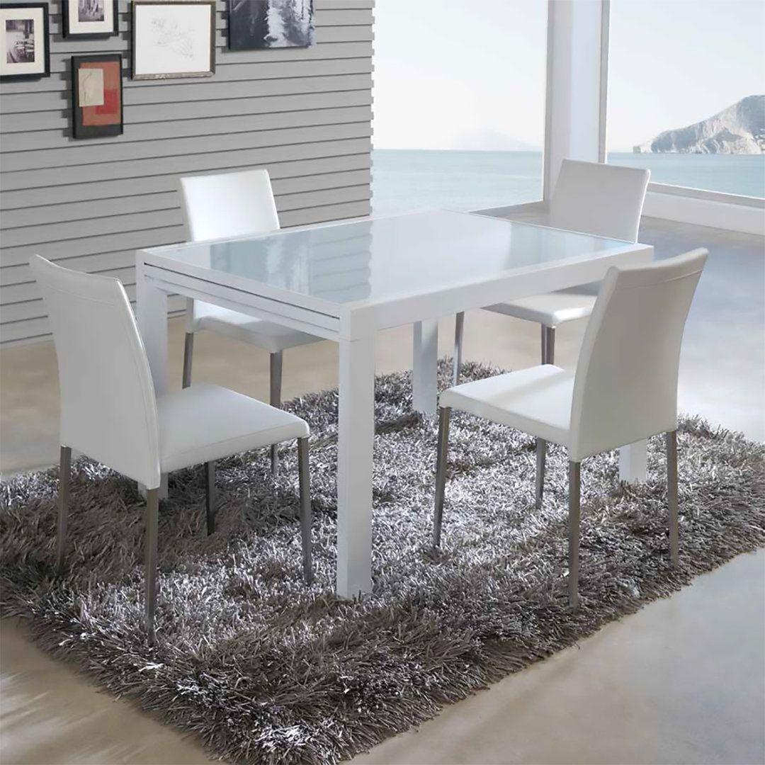 Mesa de comedor extensible con diseño moderno. Tapa de cristal ...