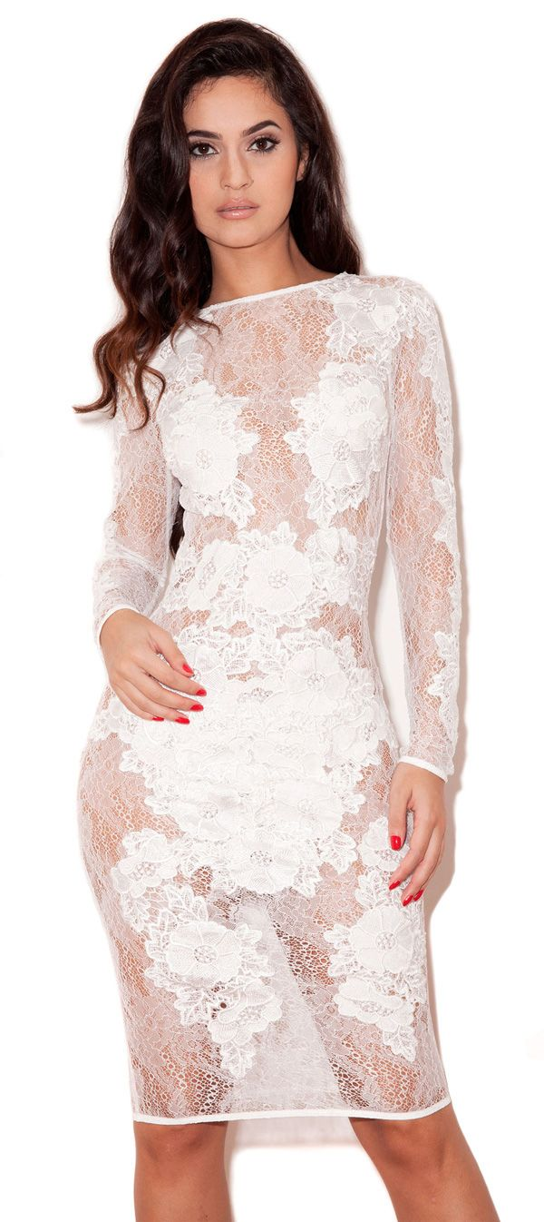 House of CB | 'Nolita' White Stretch Lace Long Sleeve Dress ...