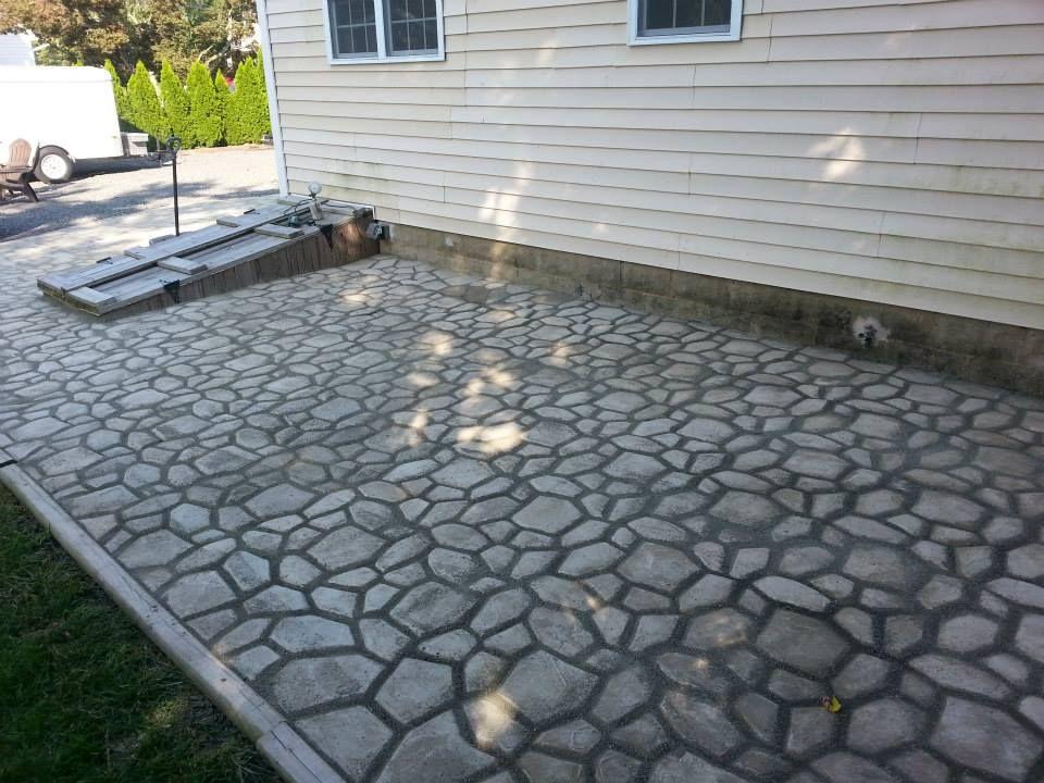 diy massive concrete cobblestone patio