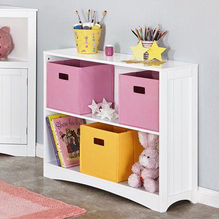 RiverRidge Kids Horizontal Bookshelf 2 Tier Multiple Colors White