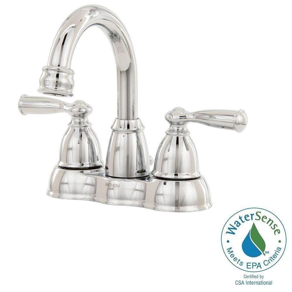 Delicieux MOEN Banbury 4 In. Centerset 2 Handle High Arc Bathroom Faucet In Chrome