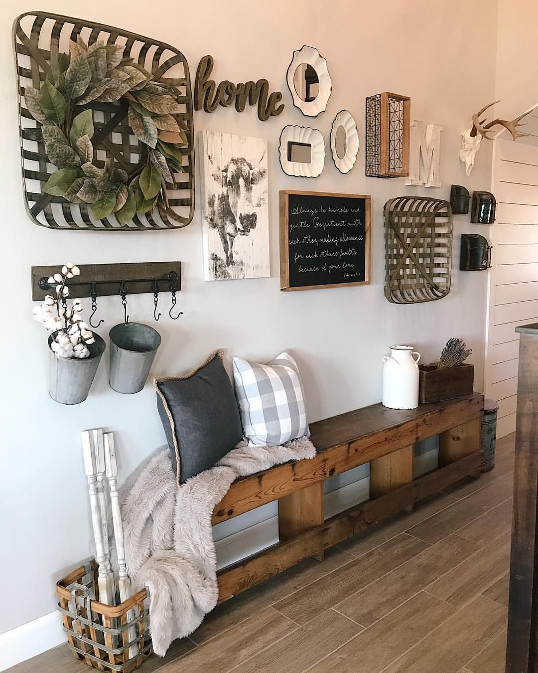 Our Modern Farmhouse Hallway Entryway Bench Wall Collage Tobacco Baskets Magnolia Wreath Wall Decor Living Room Living Room Remodel Farm House Living Room