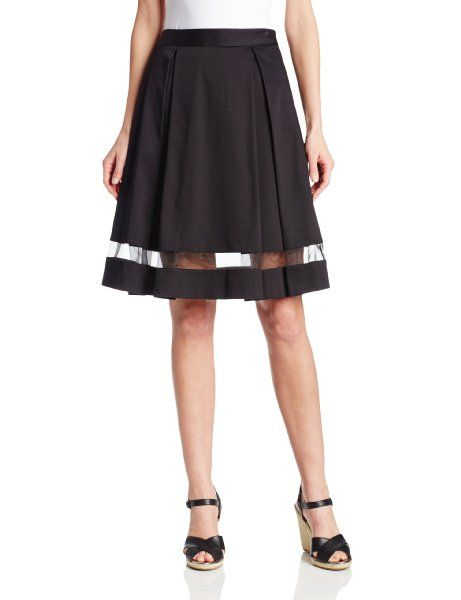 Vince Camuto Women's Pleated Midi Skirt with Sheer Inset