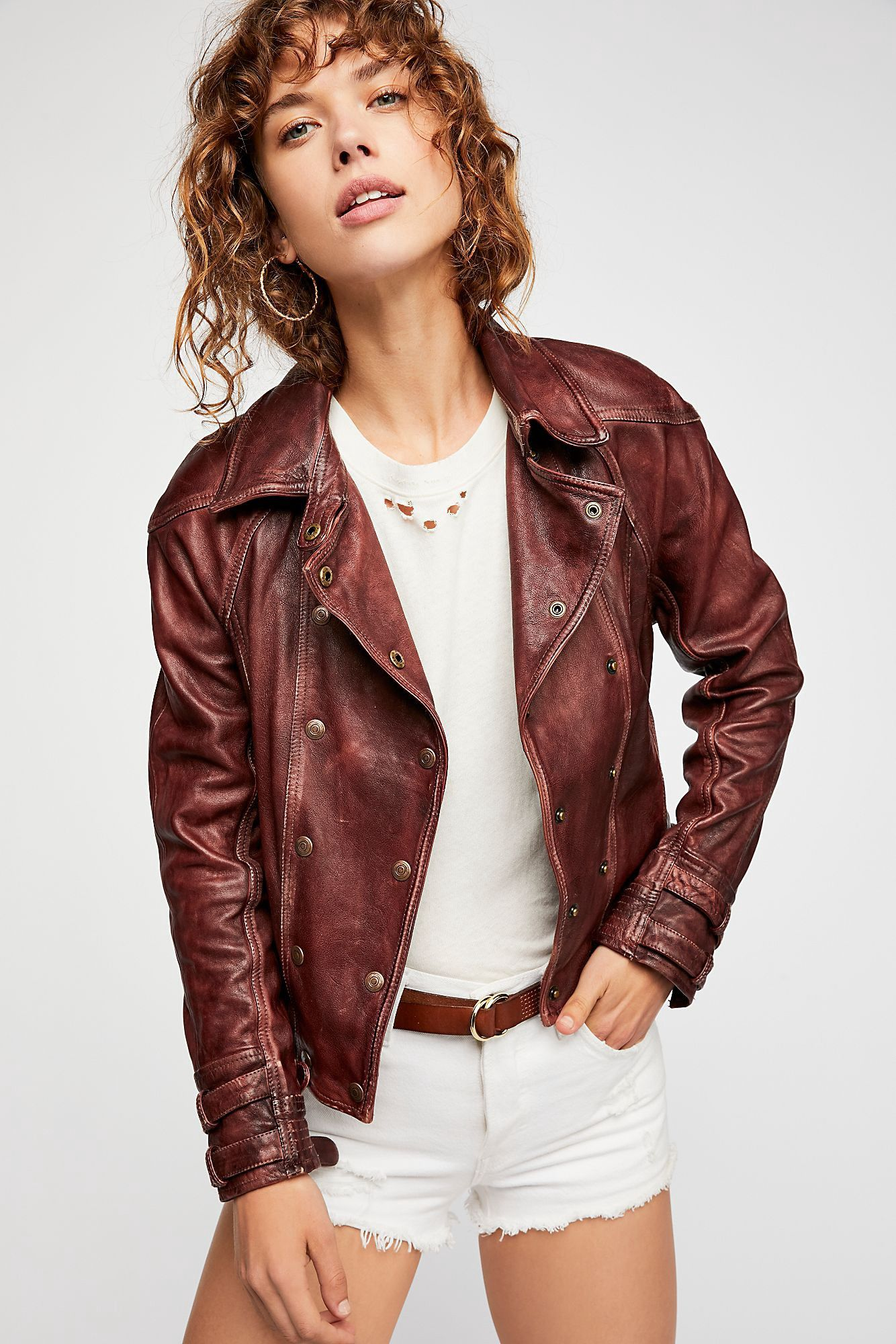 Free People Avis Leather Jacket Dusty Brown Xs Leather