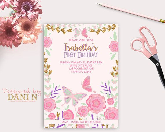 Garden Birthday Invitation 1st Birthday Butterfly Invite Pink And