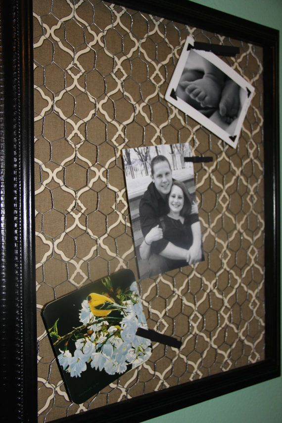 Pink frame and chicken wire with antique floral fabric ...