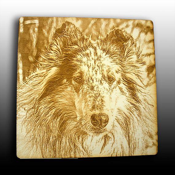 6 x 6 engraved photo into wood laser engraved pet portrait