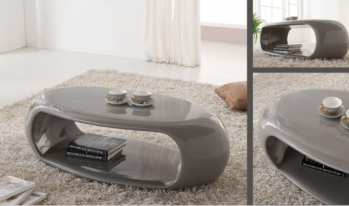 Straas Curved High Gloss Coffee Table In Grey Modern
