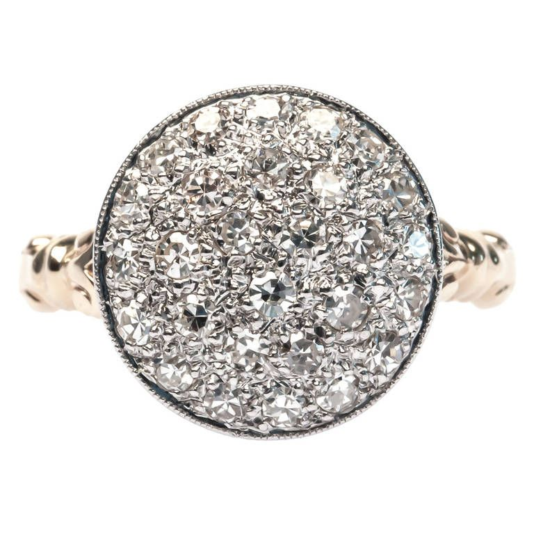 Diamond Gold Platinum-Topped Bombe Ring | 1stdibs.com
