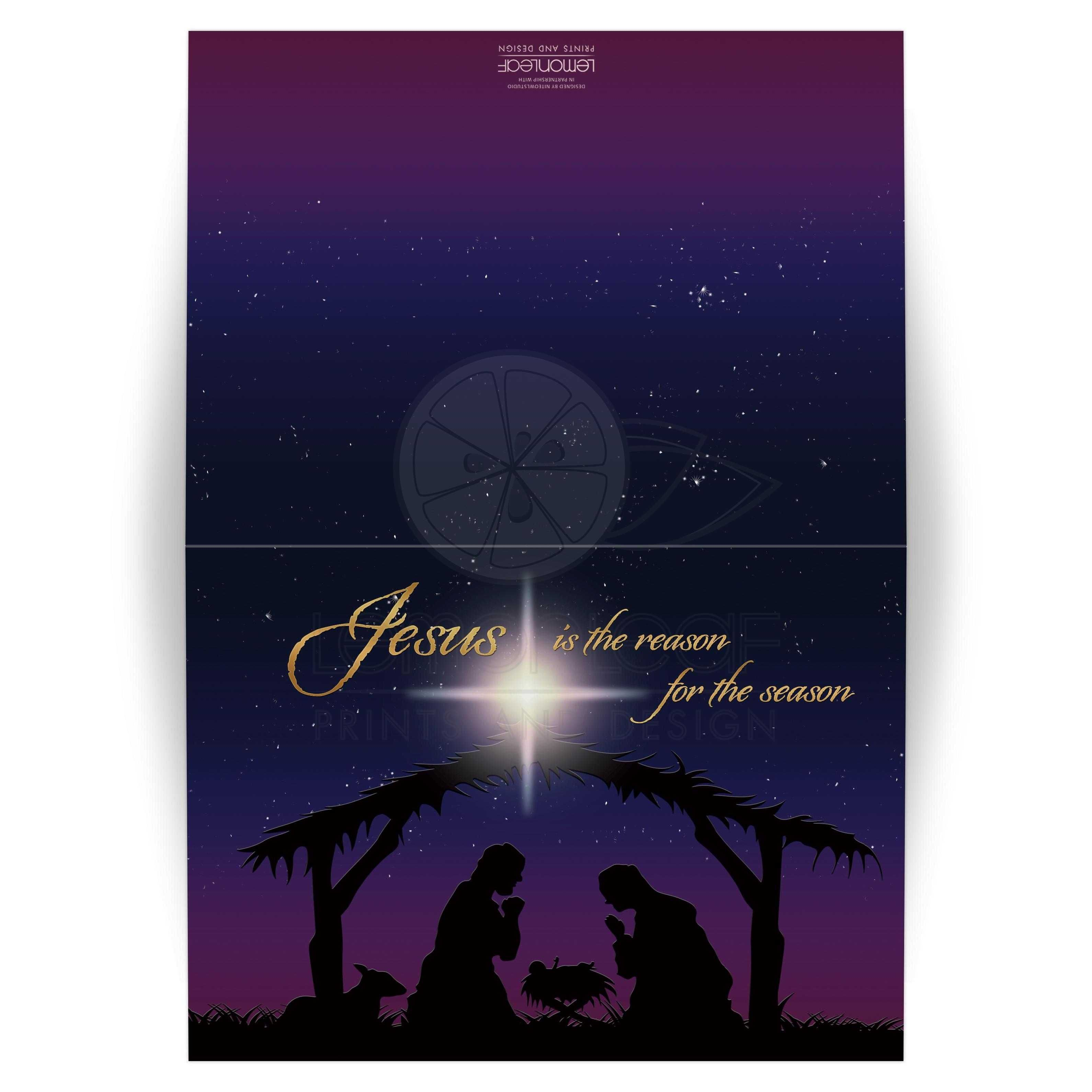 Best personalized photo template Holy night Nativity scene Christmas card with Star of Bethlehem and Jesus is the reason for the season in gold.
