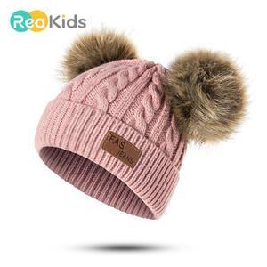 REAKIDS sombrero bebé sombrero pompón invierno sombrero niños sombrero de  punto lindo gorra para niños niñas 273a1af3c52