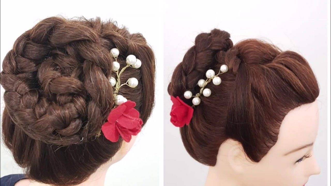 Simple Updo Bun In Tamil Hairstyle For Beginners Youtube In 2020 Simple Updo Cute Hairstyles Updos Updos