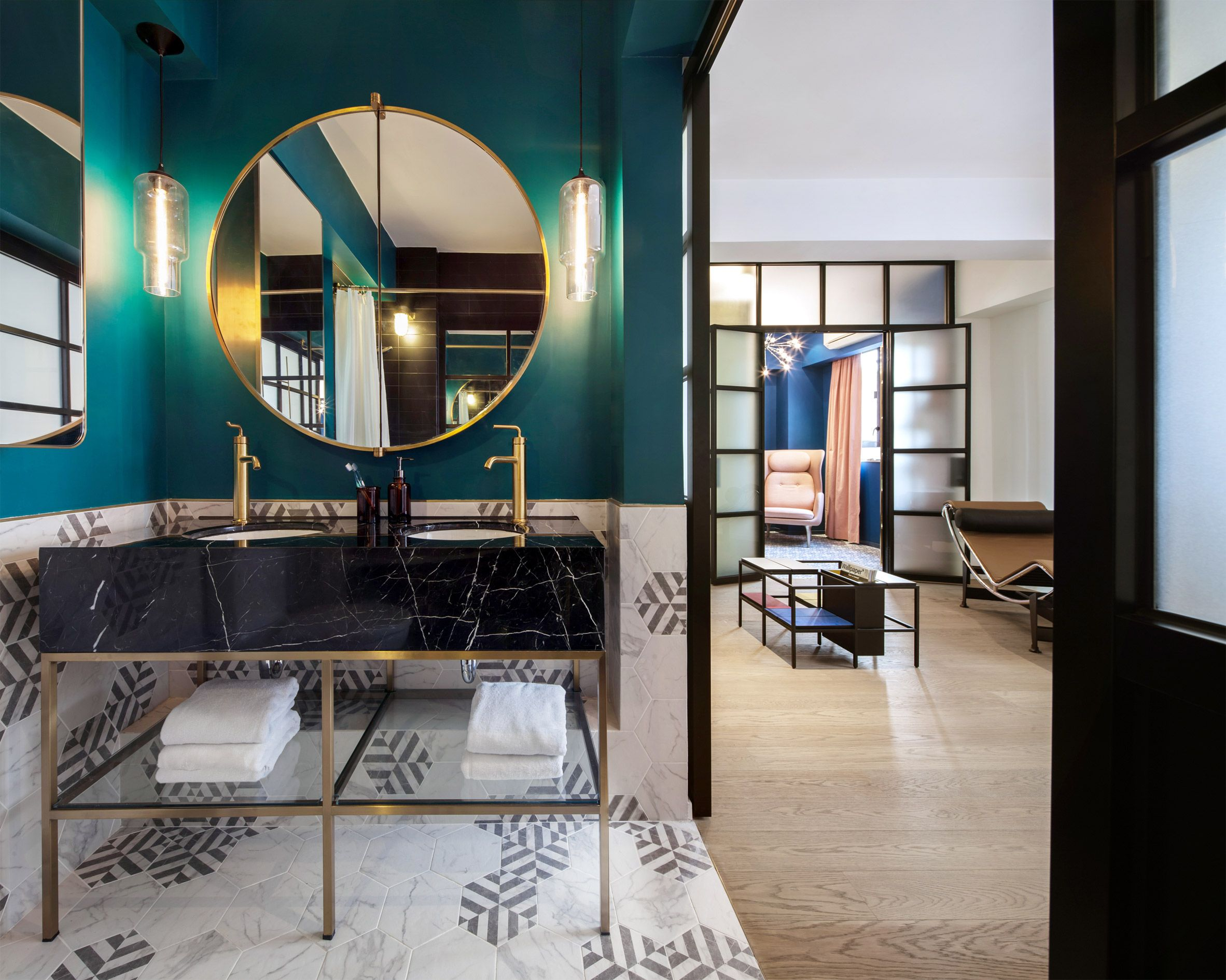Swathes of bright colour combine with patterned ceramic tiles in the ...