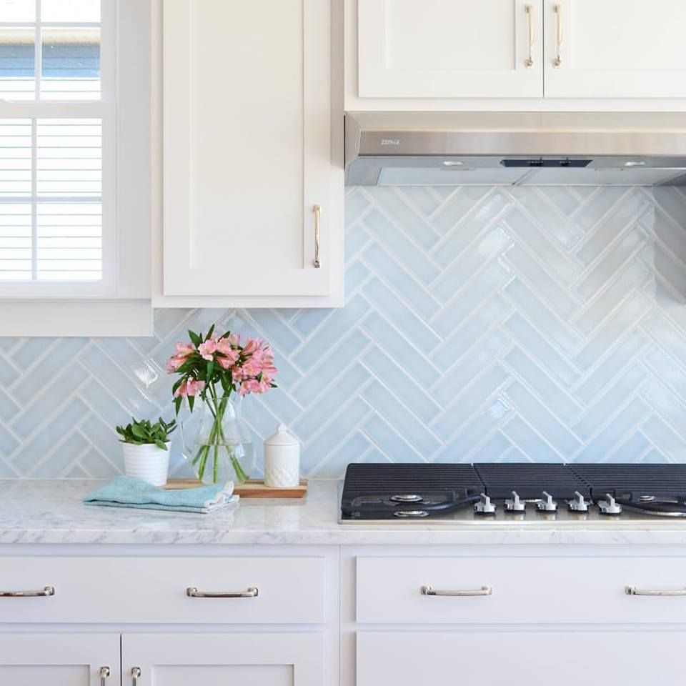 Young House Love Lovely Blue Herringbone Tile Marble Counters White Cabinets Kitchen Backsplash Trends Blue Backsplash Kitchen Blue Herringbone Backsplash