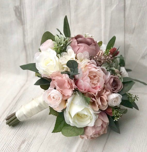 Wedding bouquet, Dusty Rose Bridal bouquet, Blush Wedding bouquet, Peony bouquet, Mauve/Dusty Rose Wedding flowers, Silk Bridal bouquet #flowerbouquetwedding