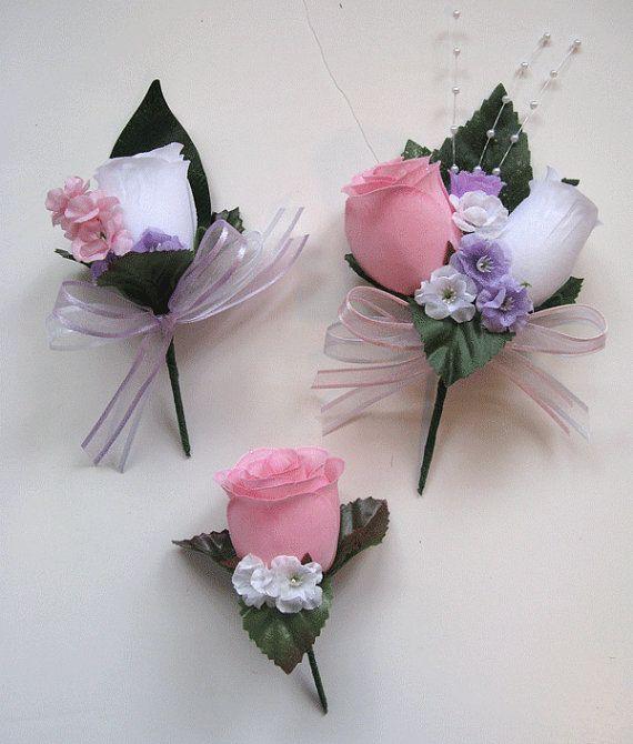 Wedding Bouquet Bridal Silk flowers LAVENDER PINK DAISY Cascade 21 ...