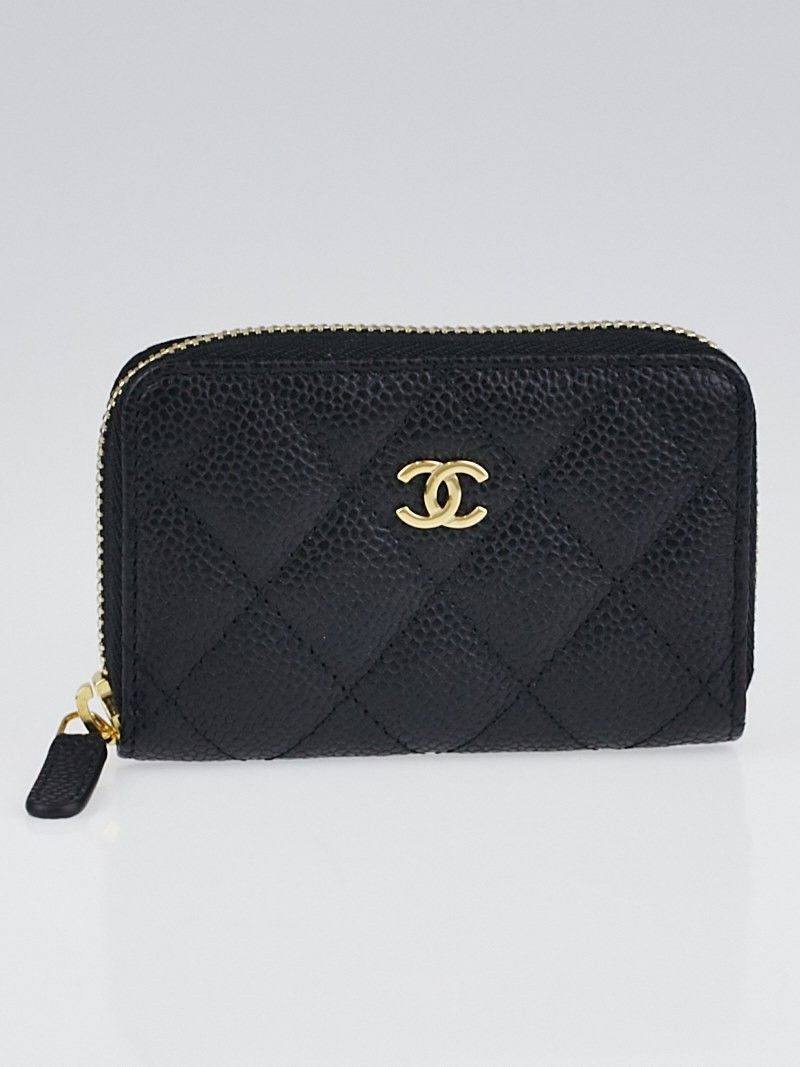 81137c0bef48 Chanel Black Quilted Caviar Leather O-Zip Coin Purse | Designer ...