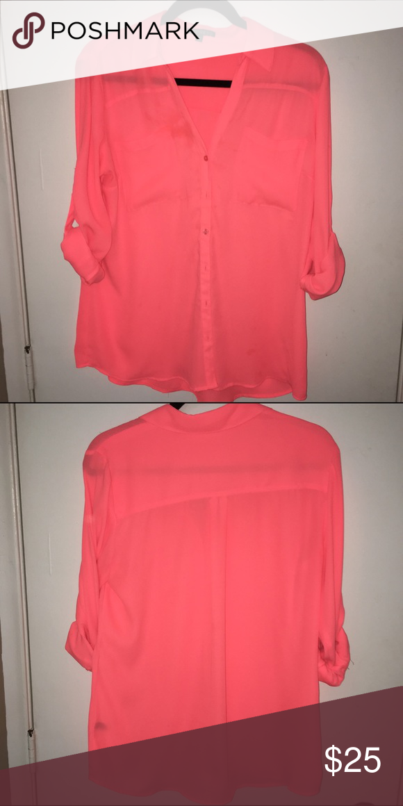 Coral Portofino Express Shirt Fabulous shade of coral Express Portofino shirt! It kills me to part with this one but it no longer fits me. Pairs well with white bottoms and other loud colored accent pieces. Sleeves can be left down or rolled up Express Tops Button Down Shirts