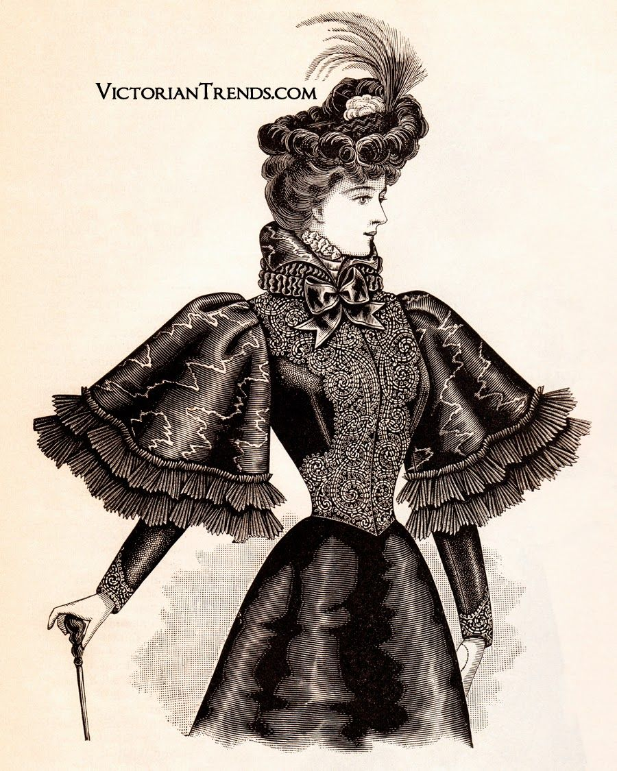 Hussar jacket, October 1897 issue of The Delineator. In velvet and miroir moiré, an Eton jacket or coat closely fitted by a center seam, underarm gores and single bust darts, closed invisibly at the center front. Elaborately trimmed with jet passementerie. Over the sleeves, circular bell sleeves, box-plaited at the top, are trimmed with two knife-plaited ruffles of chiffon. Chiffon also forms a ruche on the Medici collar.