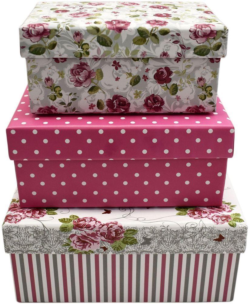 3 set elegant themed gift boxes decorative pink roses
