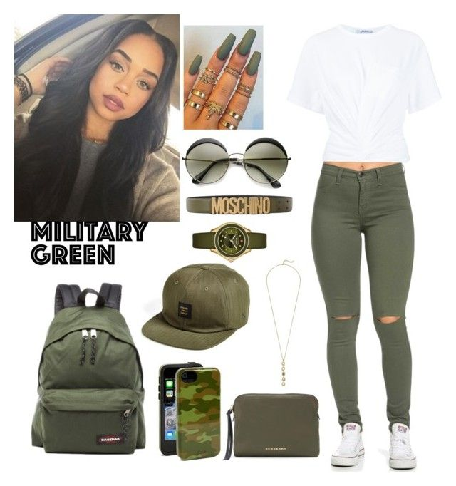 """#Green vibes!!!"" by disneylostprincess ❤ liked on Polyvore featuring T By Alexander Wang, Sonix, ZeroUV, Eastpak, Moschino, Burberry, Herschel Supply Co., Michele and Cole Haan"