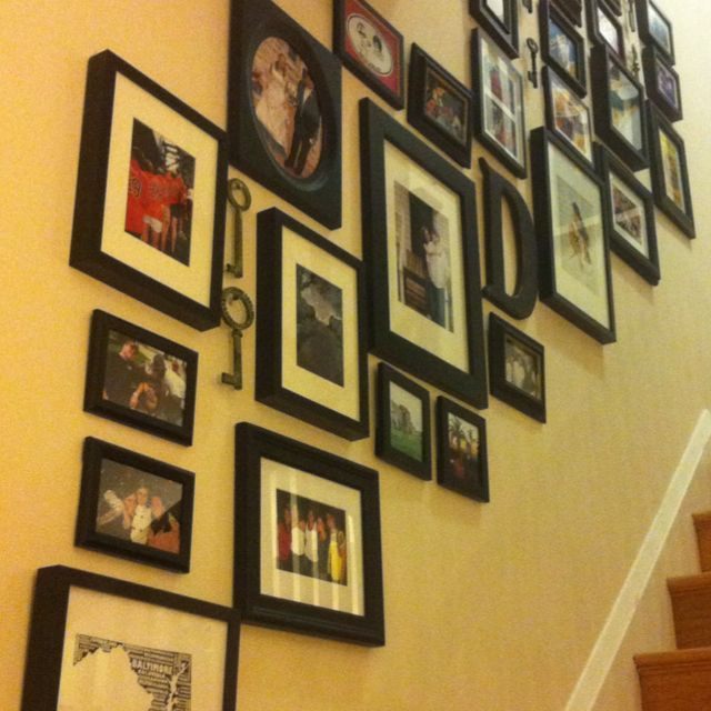 Photo Collage Wall - may work for me. same color frames, a couple ...
