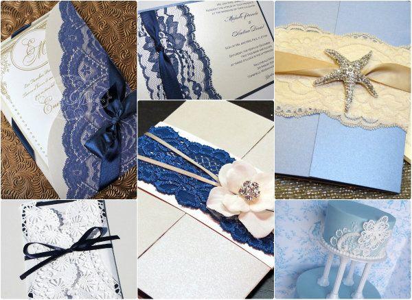 Elegant Spitze Hochzeit Einladungen Blau