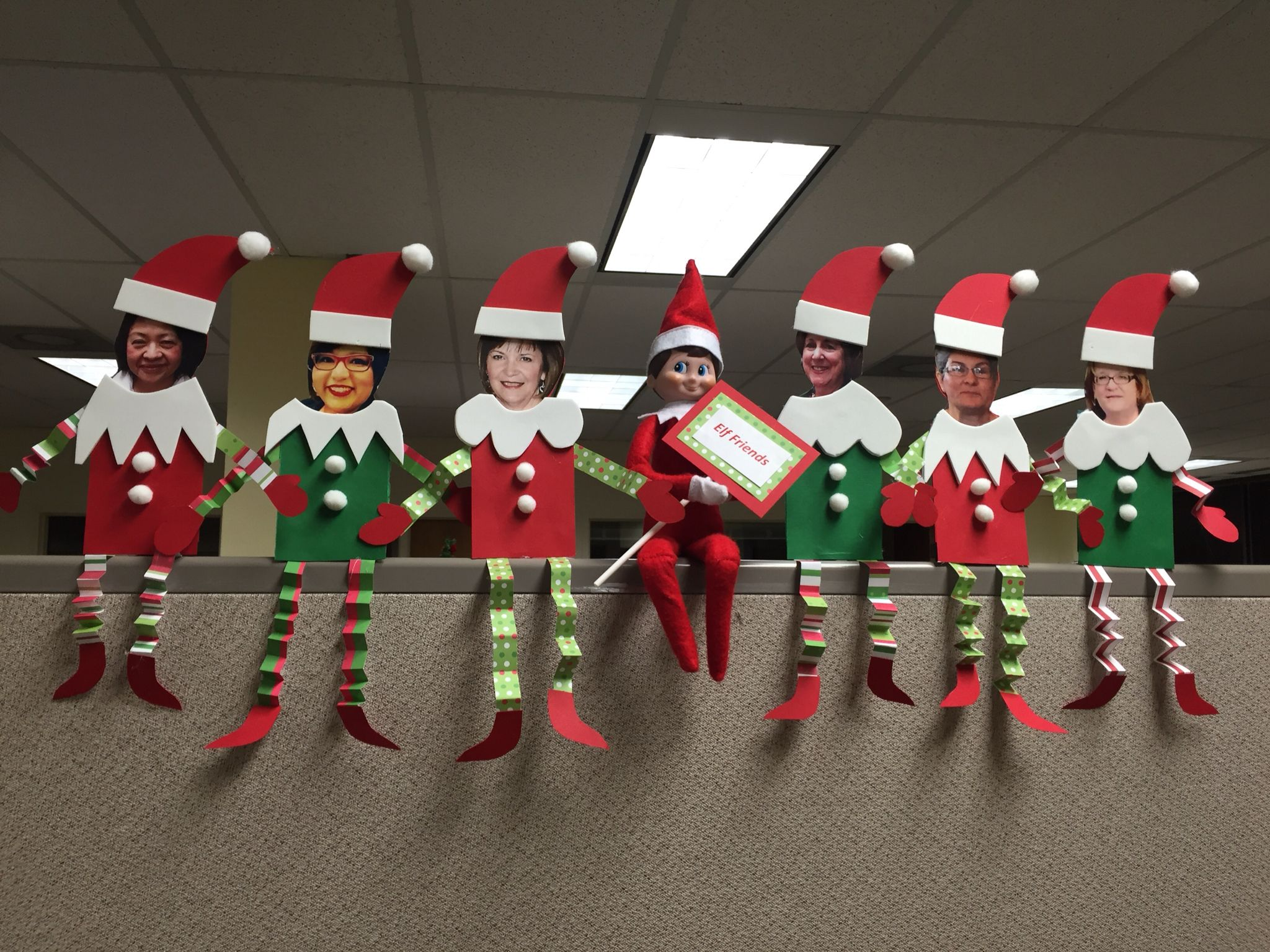 Diy christmas party decorations - Elf On The Shelf At The Office Elf Friends