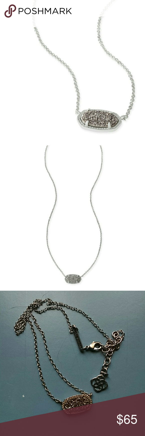 Elisa Silver Pendant Necklace in Platinum Drusy Kendra Scott Kendra Scott Jewelry Necklaces