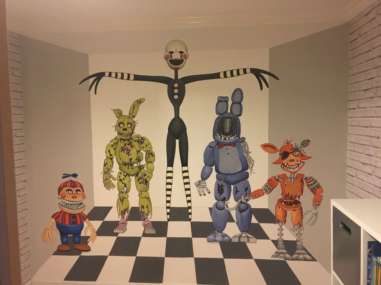 Hand Painted Five Nights At Freddys Wall Mural