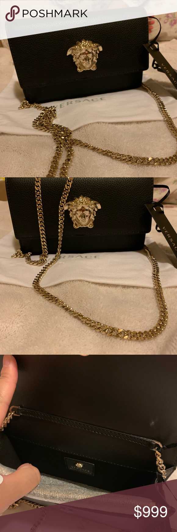 898332a9eb2 Versace shoulder bag Very beautiful bagMedusa Head plaque Chain strap  Foldover closure Inner pockets 100% Leather 100% Polyester (Lining) Length   19 cm ...