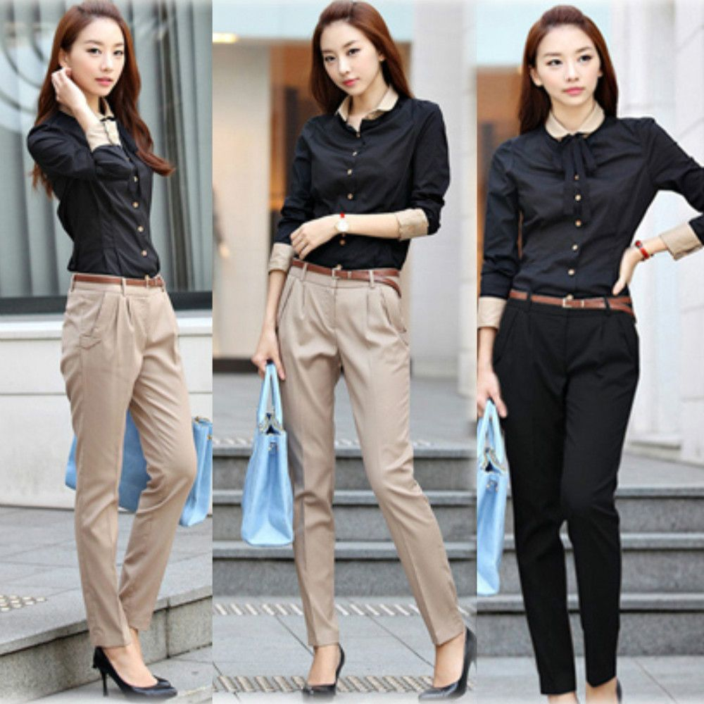 french chic  hledat googlem  khaki fashion harem pants