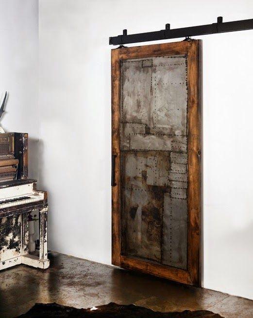 porte coulissante bois m tal et zinc ambiance d co en. Black Bedroom Furniture Sets. Home Design Ideas