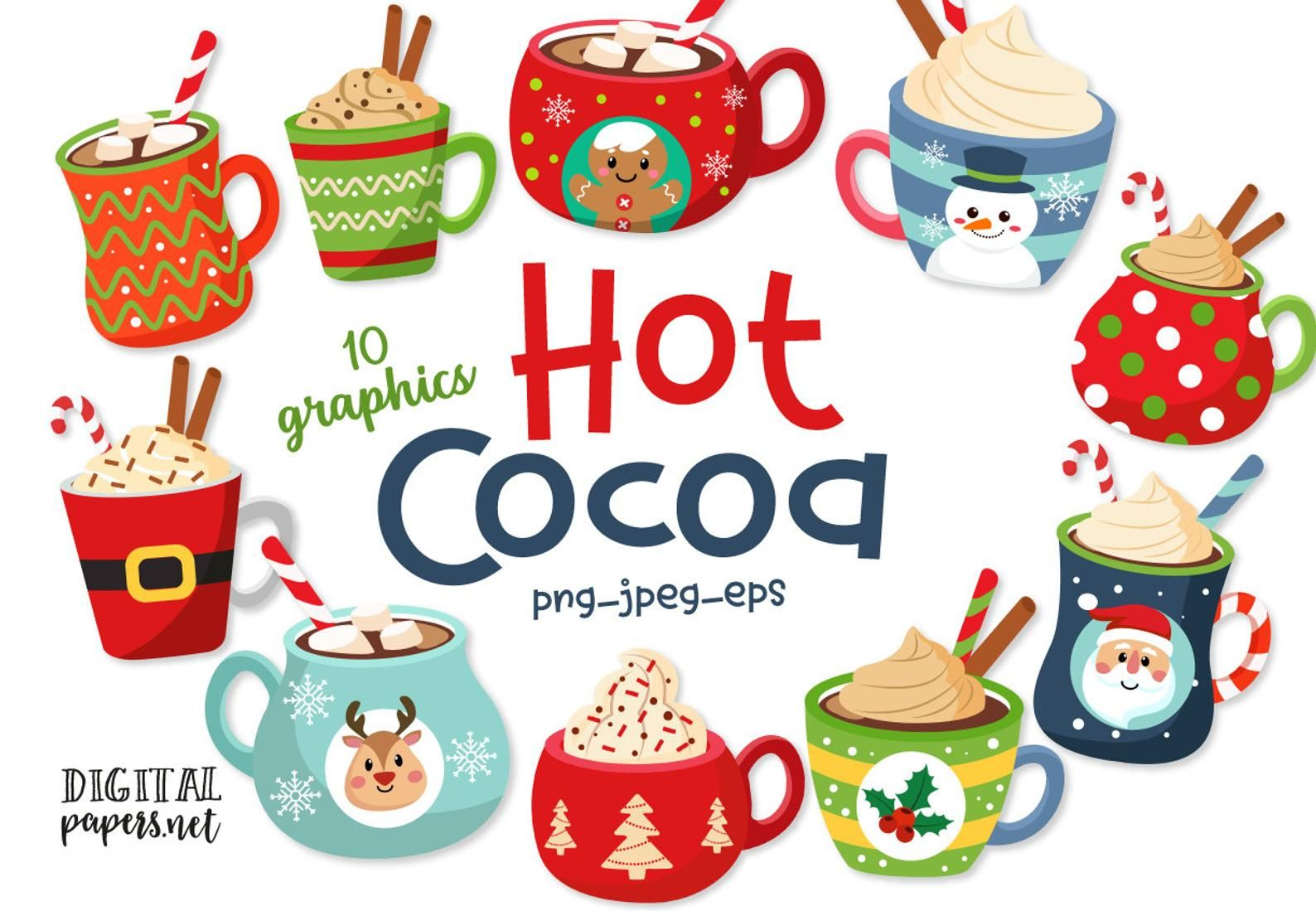 Hot Chocolate Mug Christmas Clipart Hot Cocoa Winter Clip Etsy Hot Cocoa Hot Chocolate Mug Christmas Clipart
