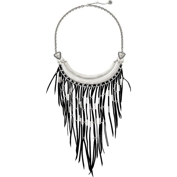 The Sak Black Fringe Bib Necklace 16 Necklace, Black ($56) ❤ liked on Polyvore featuring jewelry, necklaces, black, triangle bib necklace, the sak, adjustable chain necklace, metallic jewelry and fringe bib necklace