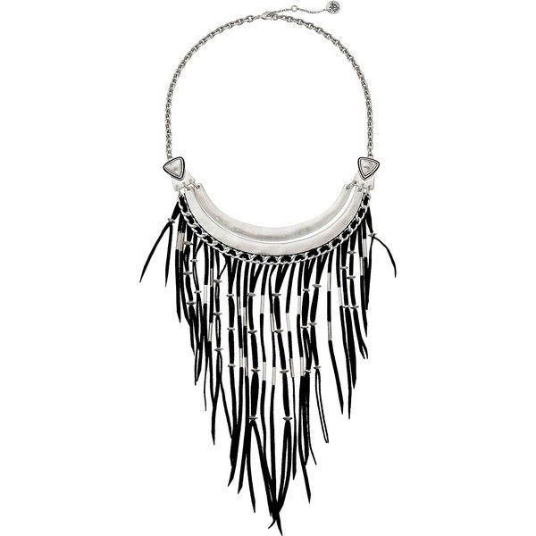 The Sak Black Fringe Bib Necklace 16 Necklace, Black ($56) ❤ liked on Polyvore featuring jewelry, necklaces, black, triangle bib necklace, the sak, adjustable chain necklace, metallic jewelry and fringe bib necklace