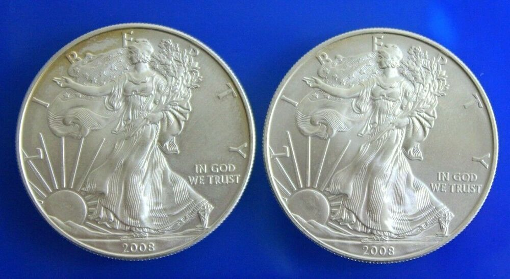 2 2008 Walking Liberty American Eagle 999 Fine Silver 1 Ounce Oz Coins Rounds Coins Fine Silver American Eagle