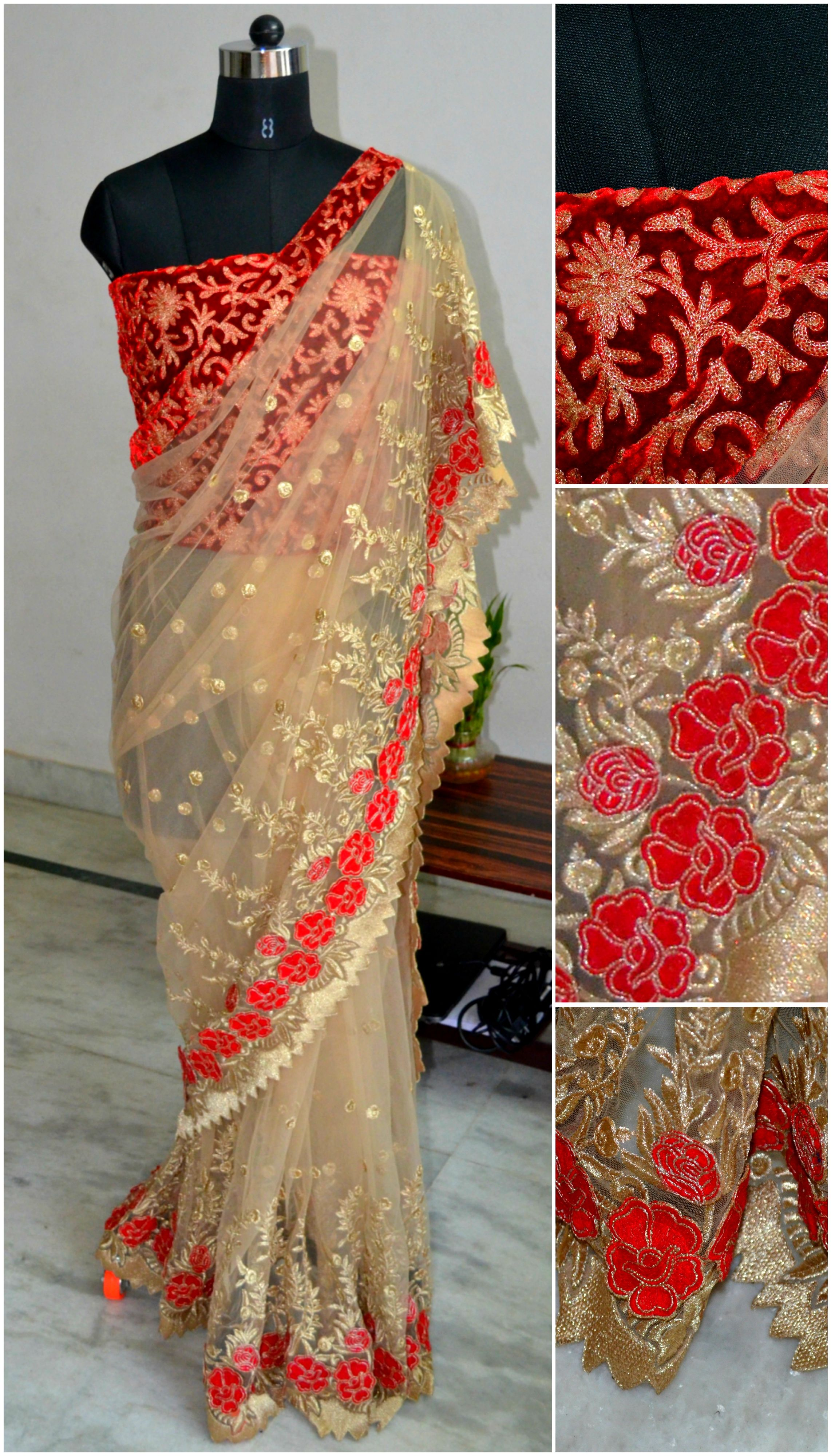 4b3d18f89d5bf2 A beige net saree with golden   red embroidery and red flower cutwork Red  velvet blouse with golden self embroidery