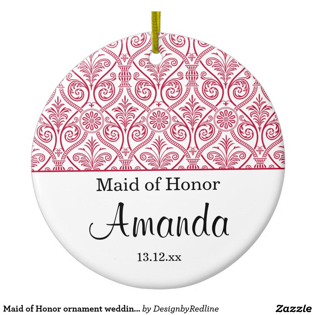 Maid of Honor ornament wedding favor - red elegant damask tree ...