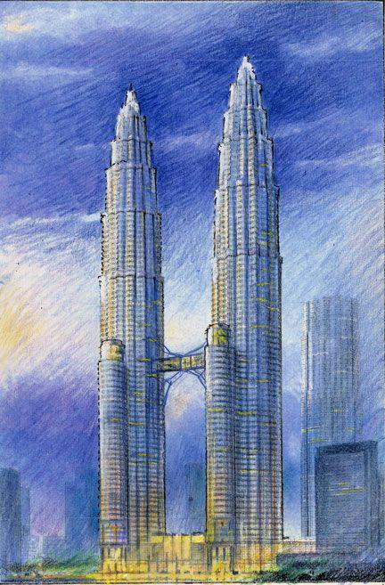 Petronas Towers Architecture Sketch Petronas Towers Travel Sketches