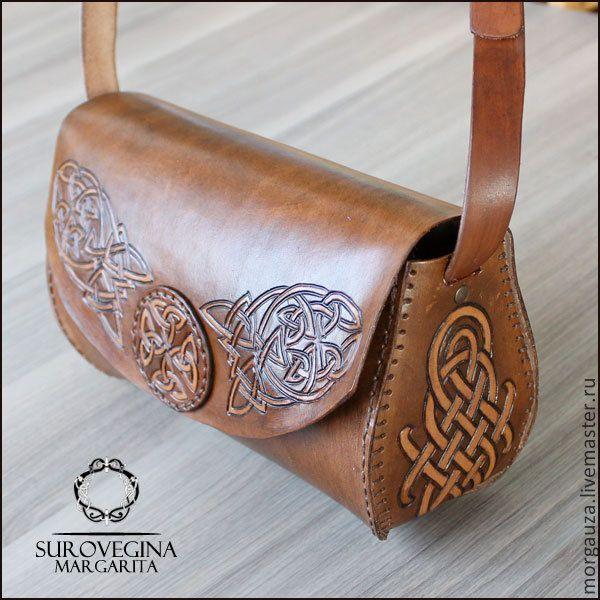 """Купить Сумка """"Кельтика"""", кожа - коричневая сумка, коричневая сумочка, коричневая кожаная сумка, сумка"""