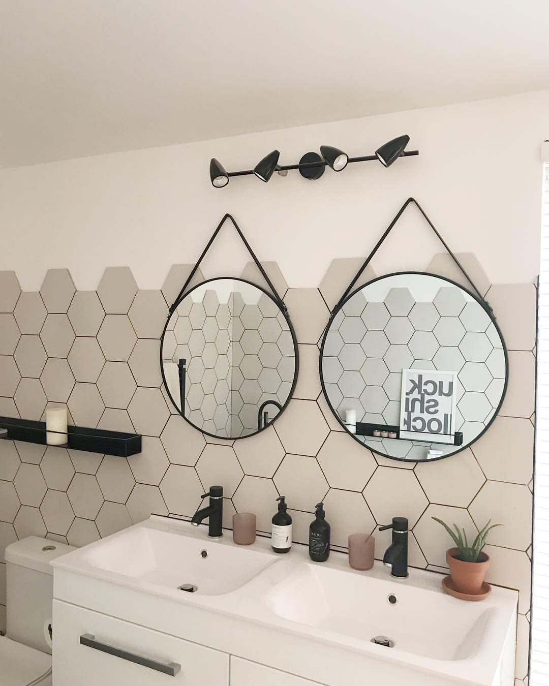 Monochrome Bathroom With Hexagon Tiles Double Sink And Round