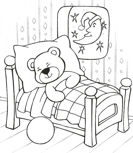 sleeping teddy bear coloring pages - Coloring Pages Babies Sleeping