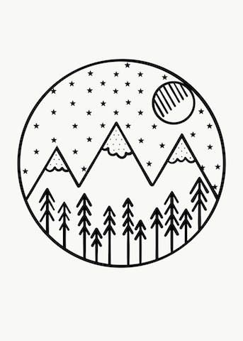 Monochrome Mountains Forest Theme Hand Drawn Art