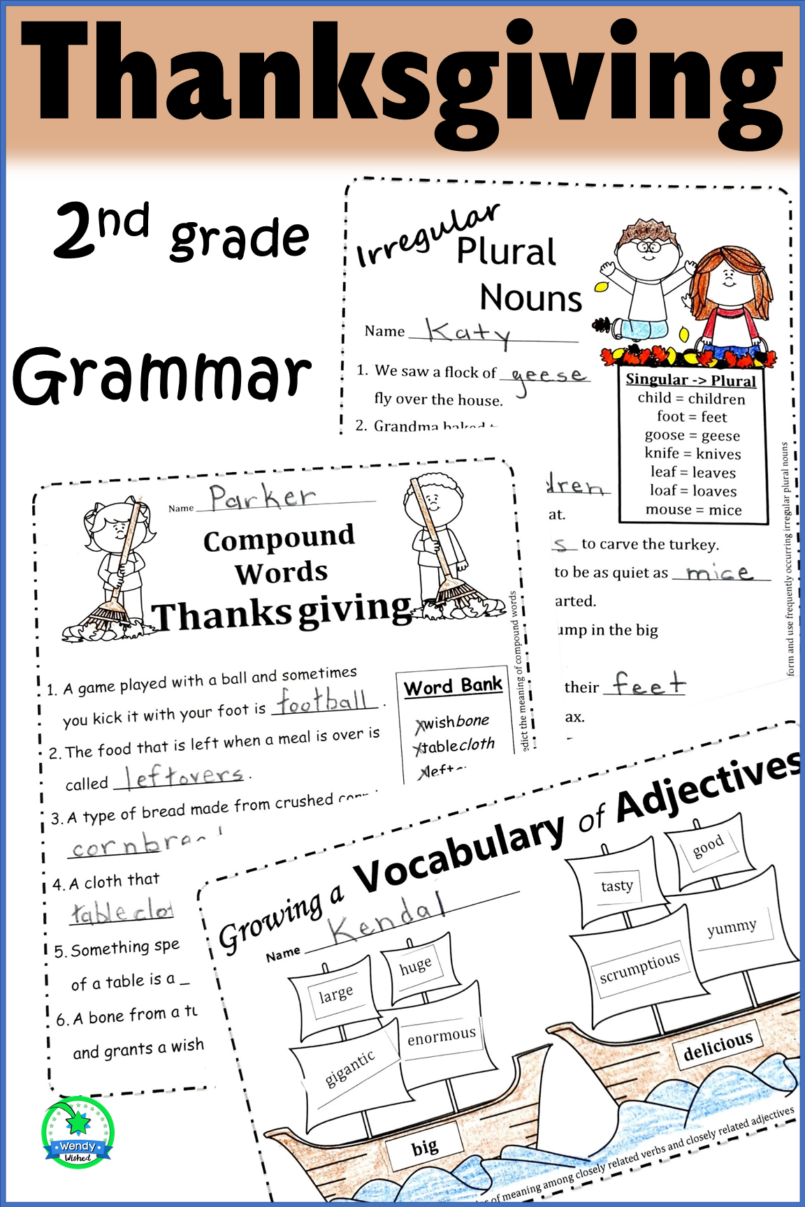 Thanksgiving Grammar Worksheets