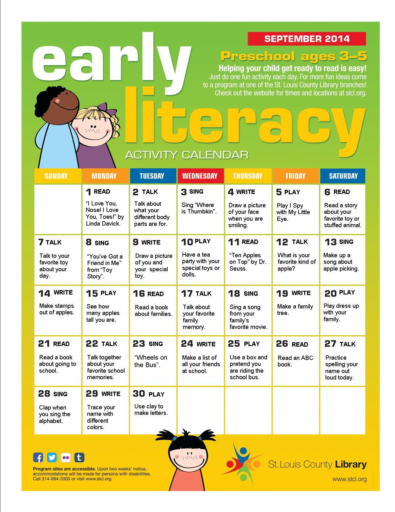 Kindergarten Readiness Calendar : Early literacy calendar for september