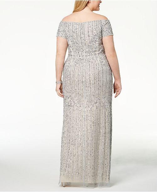 d7f76f23c67 Adrianna Papell Plus Size Embellished Off-The-Shoulder Gown   Reviews -  Dresses -